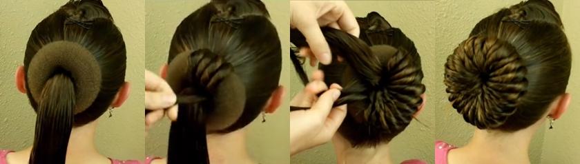 прическа с бубликом для волос видео