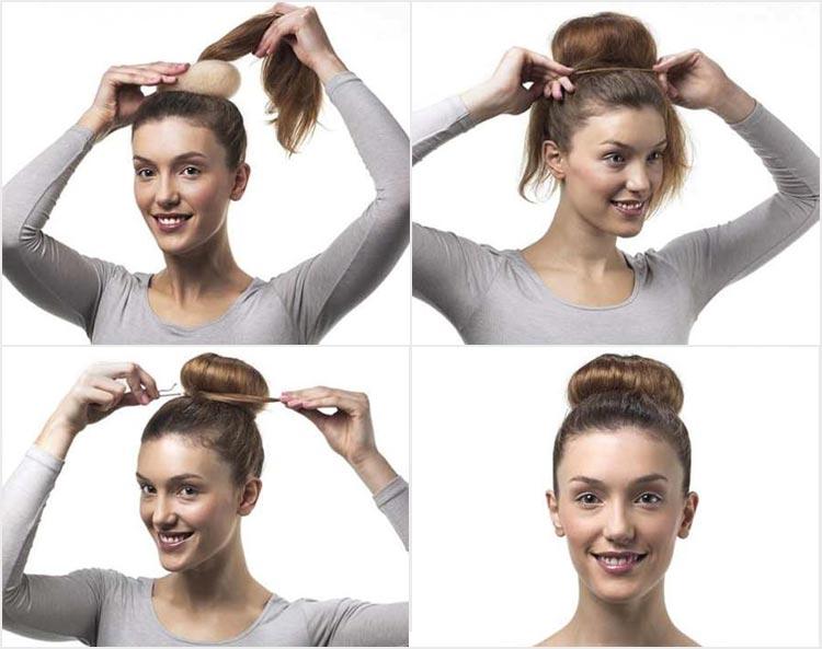 прически с бубликом на средние волосы видео