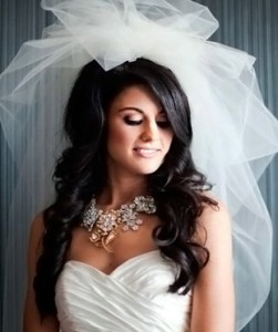 свадебная причёска с фатой на длинные волосы