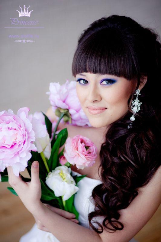 Свадьба прическа средние волосы челка
