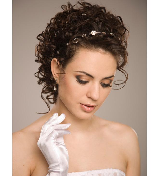 Свадебные прически на средние волосы без фаты без челки 14